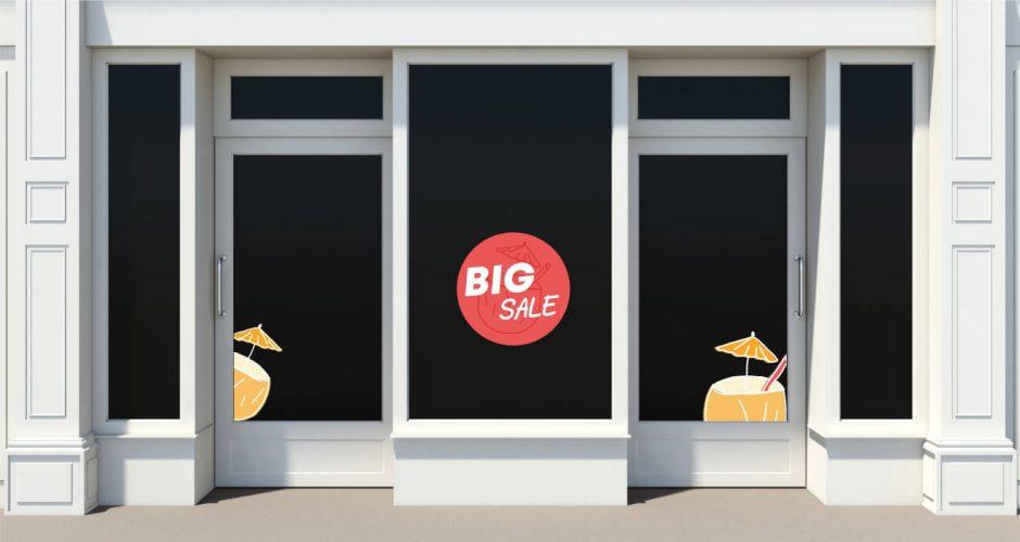 Αυτοκόλλητα καταστημάτων - Big sale coconut