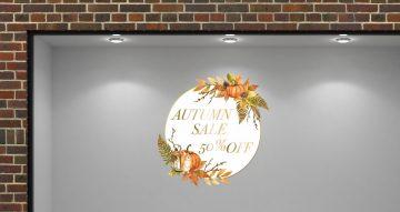 Αυτοκόλλητα καταστημάτων - Αυτοκόλλητο Φθινοπωρινών εκπτώσεων με φύλλα και φθινοπωρινά αντικείμενα με το δικό σας ποσοστό.
