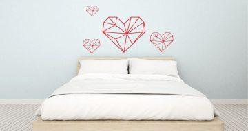 Αυτοκόλλητα Τοίχου - Αυτοκόλλητα τοίχου - geometric hearts (γεωμετρικές καρδιές)