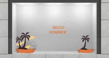 Αυτοκόλλητα καταστημάτων - Αυτοκόλλητο Βιτρίνας Hello summer - Palm trees Island