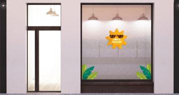 Αυτοκόλλητα καταστημάτων - Hello Summer sun and tropical leaves