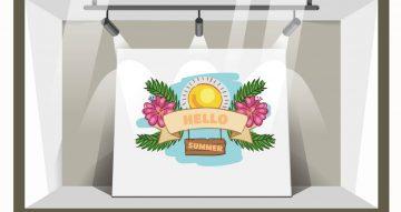 Αυτοκόλλητα καταστημάτων - Αυτοκόλλητο Βιτρίνας  Hello summer -Sun and flowers