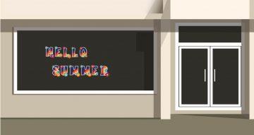 Αυτοκόλλητα καταστημάτων - Καλοκαιρινή Διακόσμηση Βιτρίνας  Colorful floral hello summer