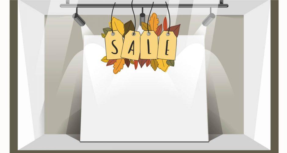 Αυτοκόλλητα καταστημάτων - Αυτοκόλλητο Φθινοπωρινών εκπτώσεων SALES με φύλλα.