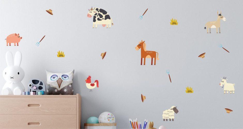 Αυτοκόλλητα Τοίχου - Αυτοκόλλητο τοίχου με χαρούμενα ζωάκια της φάρμας