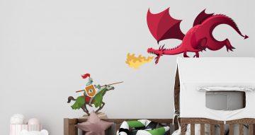 Αυτοκόλλητα Τοίχου - Αυτοκόλλητο τοίχου με ιππότη που μάχεται έναν δράκο