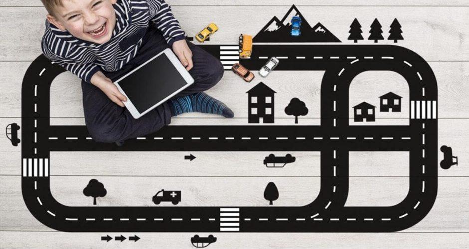 Αυτοκόλλητα Τοίχου - Αυτοκόλλητο δαπέδου με αυτοκινητόδρομο (Kids Highway)