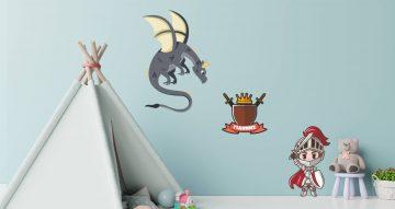 Άνθρωποι & φιγούρες - Προσωποποιημένο αυτοκόλλητο με ιππότη και δράκο (βάλτε το όνομα του παιδιού σας!)