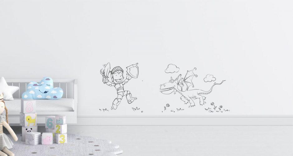 Άνθρωποι & φιγούρες - Αυτοκόλλητο τοίχου με φιγούρες ιππότη και δράκου