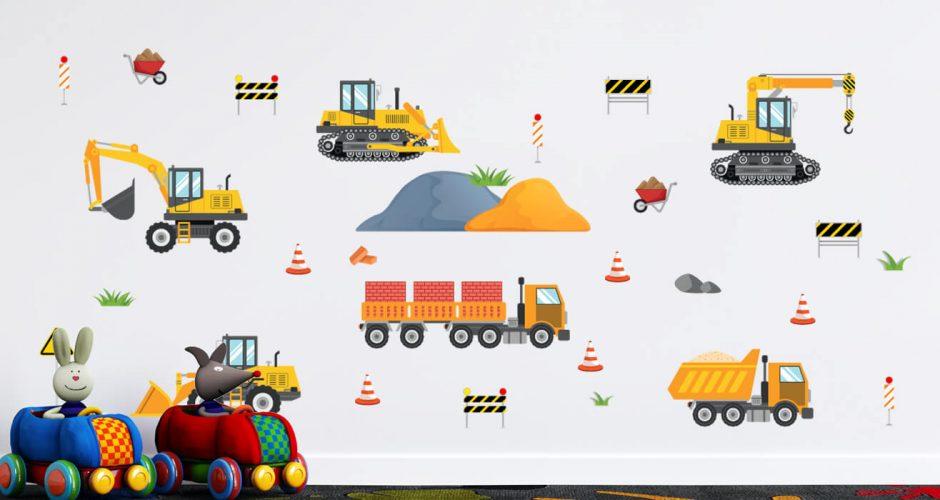 Αυτοκόλλητα Τοίχου - Οχήματα εργοταξίου εν ώρα εργασίας