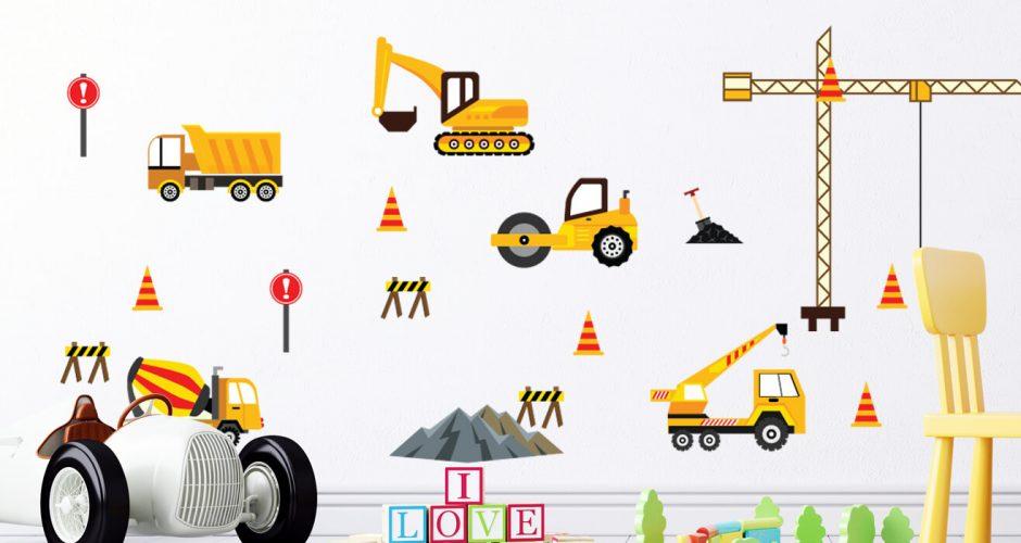 Αυτοκόλλητα Τοίχου - Αυτοκόλλητο τοίχου με συνθεση απο διάφορα μηχανήματα εργασίας εργοταξίου