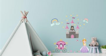 Αυτοκόλλητα Τοίχου - Αυτοκόλλητο τοίχου με βασίλισσα και κάστρο