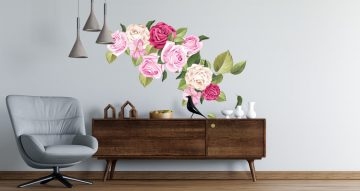 Floral - Αυτοκόλλητο Τοίχου - Hand draw flowers (σύνθεση με τριαντάφυλλα)
