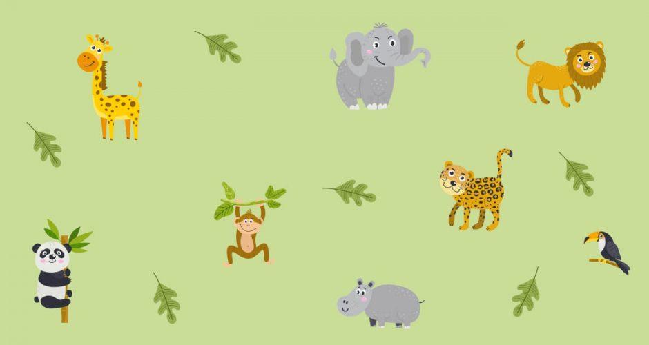 Αυτοκόλλητα Τοίχου - Jungle animals with leaves