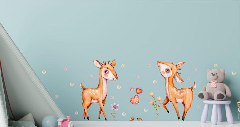 Αυτοκόλλητα Τοίχου - Παιδικό αυτοκόλλητο τοίχου - Ελαφάκια στο δάσος