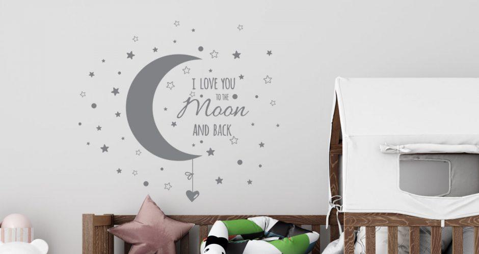 Αυτοκόλλητα Τοίχου - Αυτοκόλλητο τοίχου i love you to the moon and back