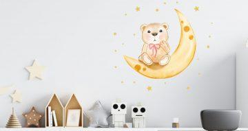 Αυτοκόλλητα Τοίχου - Αυτοκόλλητο τοίχου με αρκουδάκι στο φεγγάρι και αστεράκια