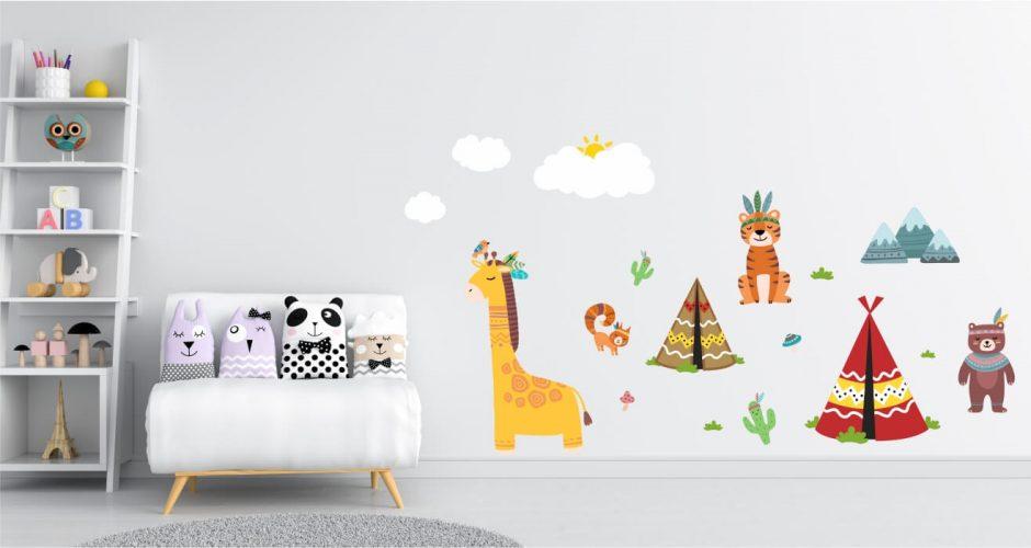 Αυτοκόλλητα Τοίχου - Παιδικό αυτοκόλλητο τοίχου με ζωάκια και ινδιάνικο χωριό
