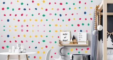 Αυτοκόλλητα Τοίχου - Αυτοκόλλητο τοίχου handraw colorful dots