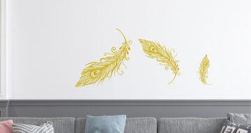 Αυτοκόλλητα Τοίχου - Αυτοκόλλητο τοίχου με φτερά απο απο παγώνι (Peacock feather)