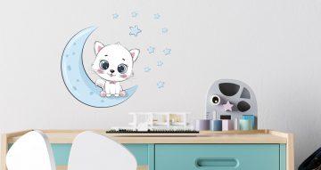Αυτοκόλλητα Τοίχου - Παιδικό αυτοκόλλητο τοίχου με γατάκι φεγγάρι και αστεράκια