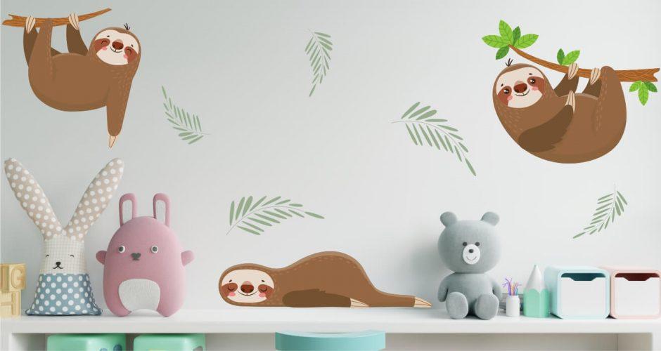 Αυτοκόλλητα Τοίχου - Παιδικό αυτοκόλλητο τοίχου lazy animals