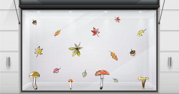 Αυτοκόλλητα καταστημάτων - Σύνθεση από μανιτάρια και φθινοπωρινά φύλλα