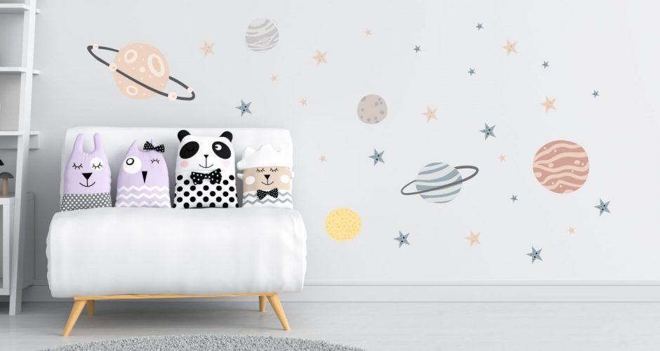 Αυτοκόλλητα Τοίχου - Αυτοκόλλητο τοίχου με πλανήτες και αστεράκια σε όμορφα χρώματα