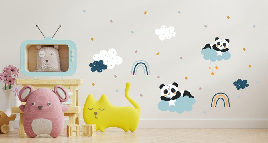 Αυτοκόλλητα Τοίχου - Αυτοκόλλητο τοίχου για το παιδικό δωμάτιο με ουράνια τόξα και χαρούμενα πάντα