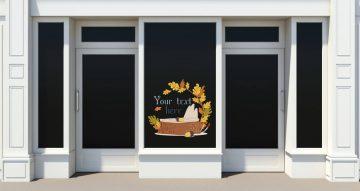 Αυτοκόλλητα καταστημάτων - Hello autumn κορμός με φύλλα με το δικό σας κείμενο