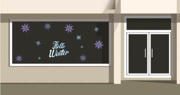 Αυτοκόλλητα καταστημάτων - Hello winter snowflakes