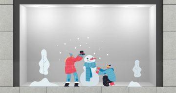 Αυτοκόλλητα καταστημάτων - Παιδιά που δημιουργούν χιονάνθρωπο