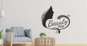 Αυτοκόλλητα καταστημάτων - Female face beauty salon