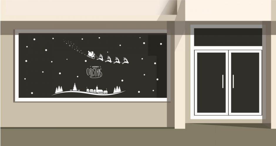 Αυτοκόλλητα καταστημάτων - Merry Christmas με Άγιο βασίλη με έλκηθρο