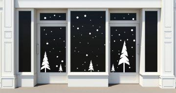 Αυτοκόλλητα καταστημάτων - Trees and snowflakes
