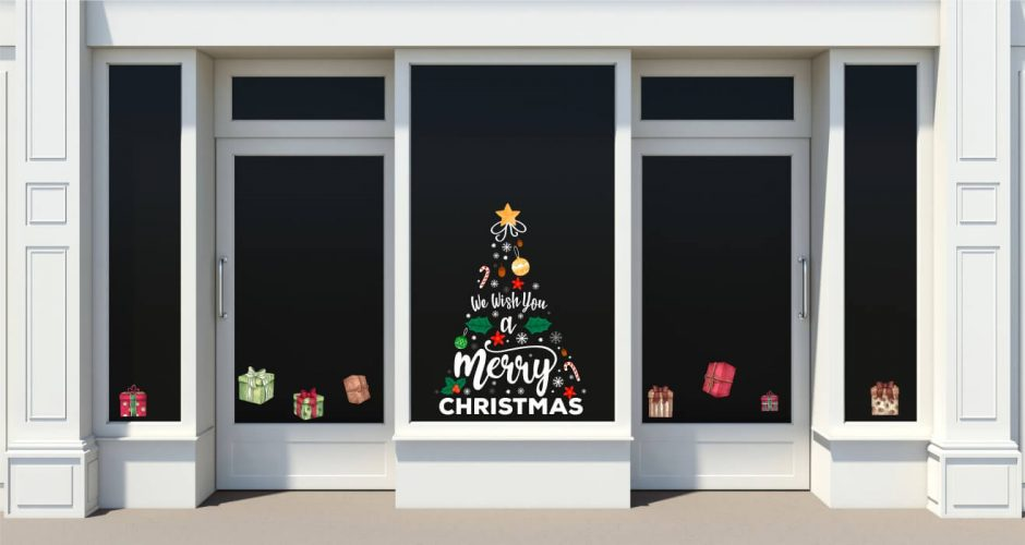 Αυτοκόλλητα καταστημάτων - Χριστουγεννιάτικο δέντρο we wish you a merry christmas με δώρα
