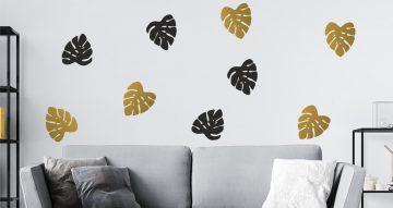 Floral - Golden tropical leaves