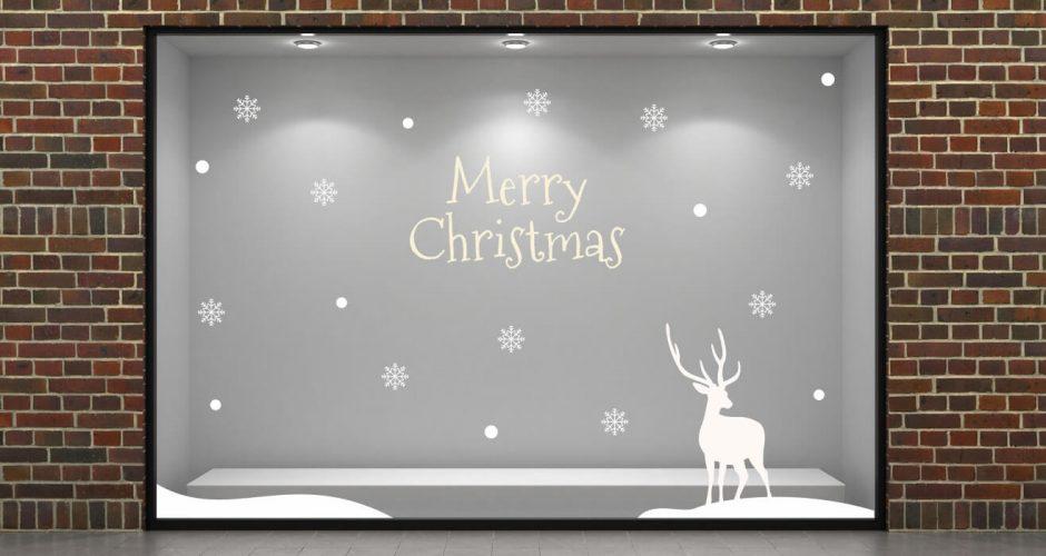 Αυτοκόλλητα καταστημάτων - Merry Christmas με νιφάδες και ελάφι