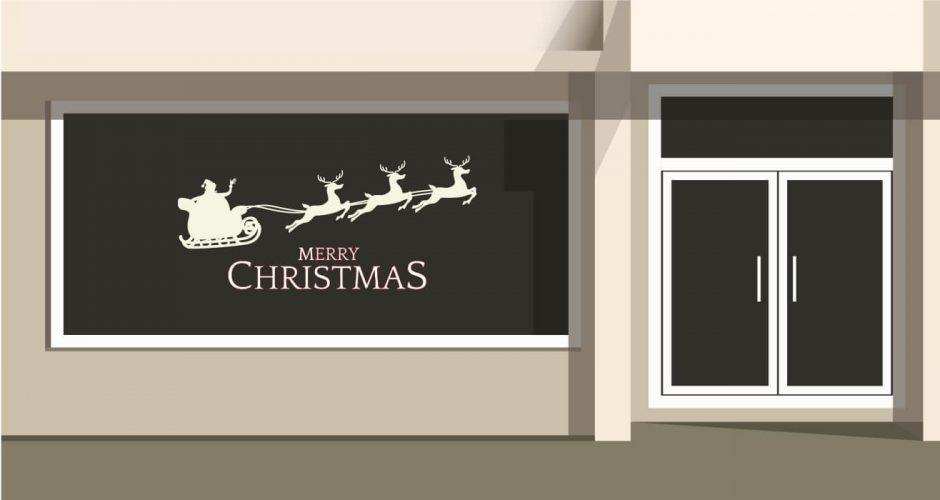Αυτοκόλλητα καταστημάτων - Αυτοκόλλητο Merry Christmas με έλκηθρο στο χρώμα της επιλογής σας.