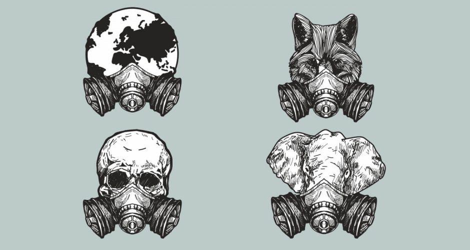 Αυτοκόλλητα Τοίχου - Μονόχρωμες φιγούρες με μάσκες