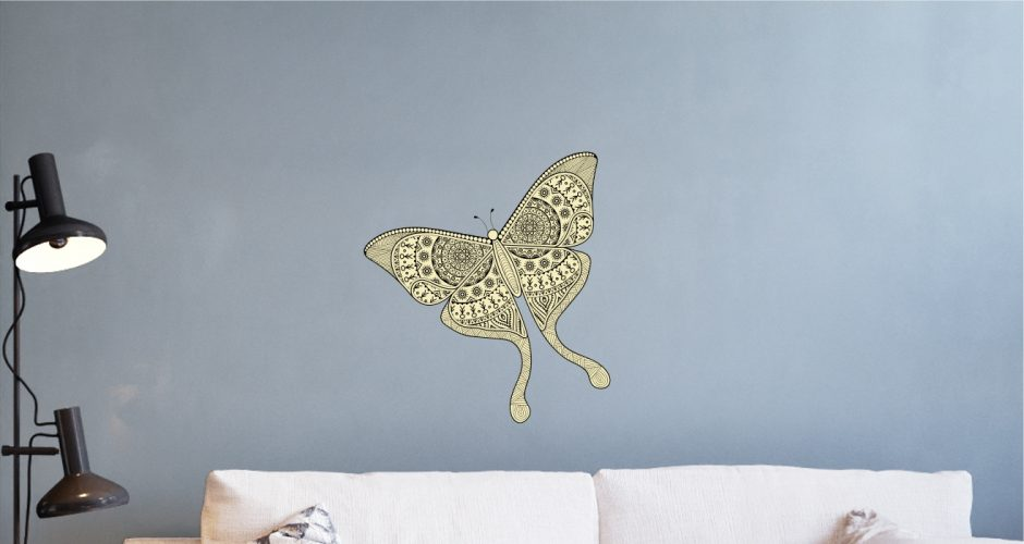 Αυτοκόλλητα Τοίχου - Colorful boho butterfly