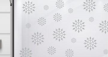 Αυτοκόλλητα καταστημάτων - Αυτοκόλλητο βιτρίνας με ασύμμετρες χιονονιφάδες