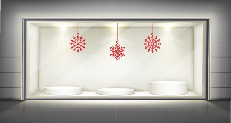 Αυτοκόλλητα καταστημάτων - Χριστουγεννιάτικο αυτοκόλλητο βιτρίνας με κρεμαστές χιονονιφάδες