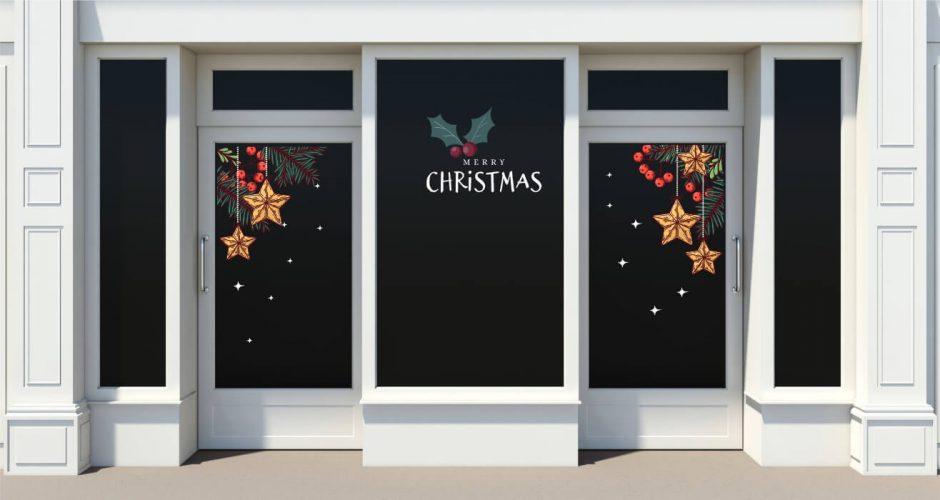 Αυτοκόλλητα καταστημάτων - Merry christmas με έλατο και στολίδια