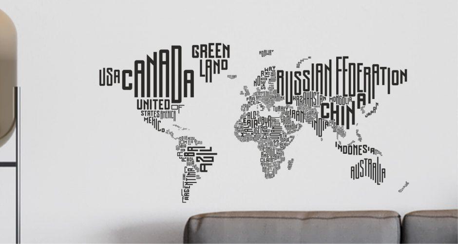 Αυτοκόλλητα καταστημάτων - Μονόχρωμος παγκόσμιος χάρτης με ονόματα χωρών