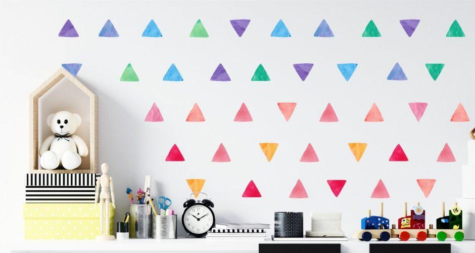 Αυτοκόλλητα Τοίχου - Colorful watercolor triangles
