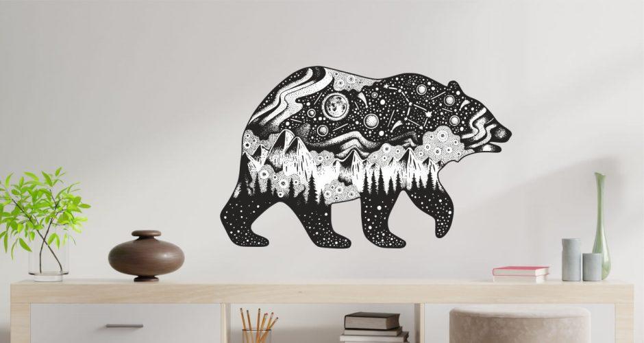 Αυτοκόλλητα Τοίχου - Αρκούδα με βουνά δάση και διάστημα