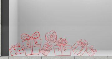 Αυτοκόλλητα καταστημάτων - Αυτοκόλλητο βιτρίνας με διάφορα χριστουγεννιάτικα δώρα