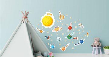 Αυτοκόλλητα Τοίχου - Το Ηλιακό μας Σύστημα! Παιδικό αυτοκόλλητο τοίχου (στα Αγγλικά)