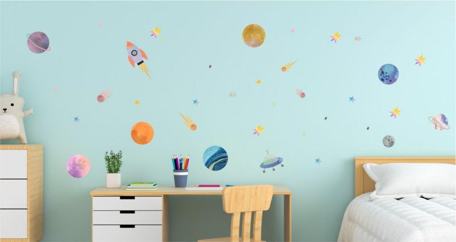 Αυτοκόλλητα Τοίχου - Πολύχρωμο Ηλιακό Σύστημα! Παιδικό αυτοκόλλητο τοίχου.